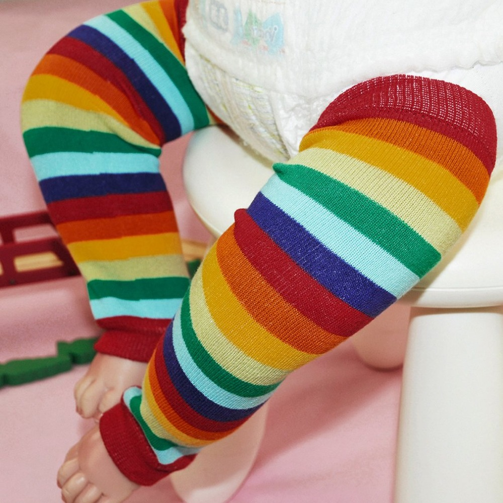 OUTAD Winter Over Knee Long Knit cover Crochet Leg Warmers Legging Chic Striped Design Knee High Socks Girls Boys Knee Pad
