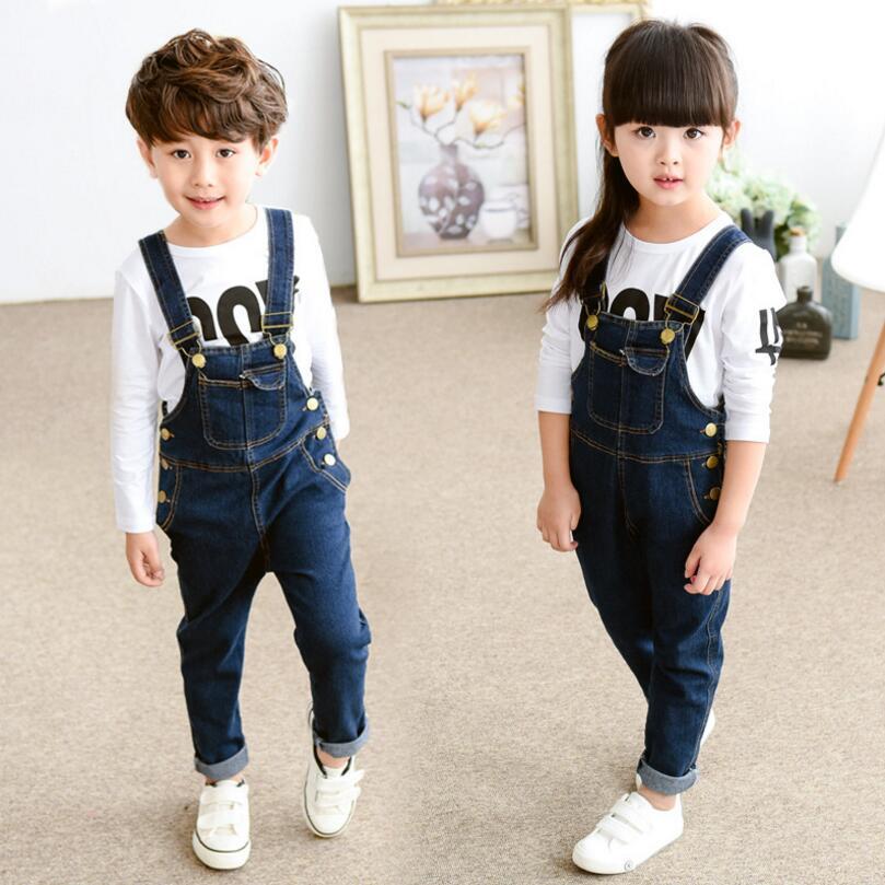 2016 New Autumn denim overalls children girls and boys pants kids blue denim overalls trousers Bodysuit kids Jumpsuits Rompers