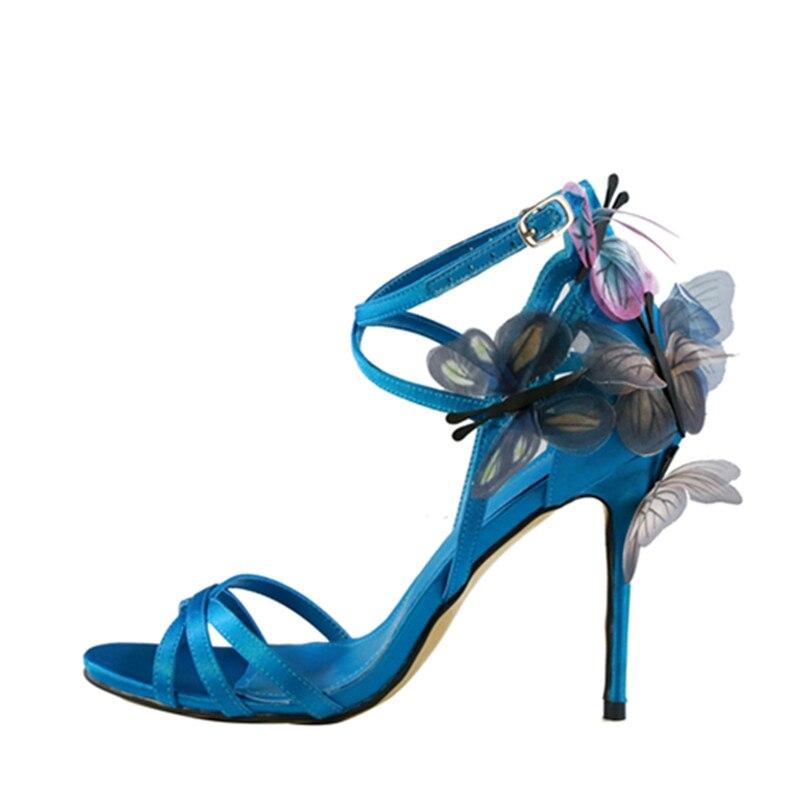 2018 New brand cross strap high heels sandals butterfly appliques stiletto heel pumps buckle strap celebrity