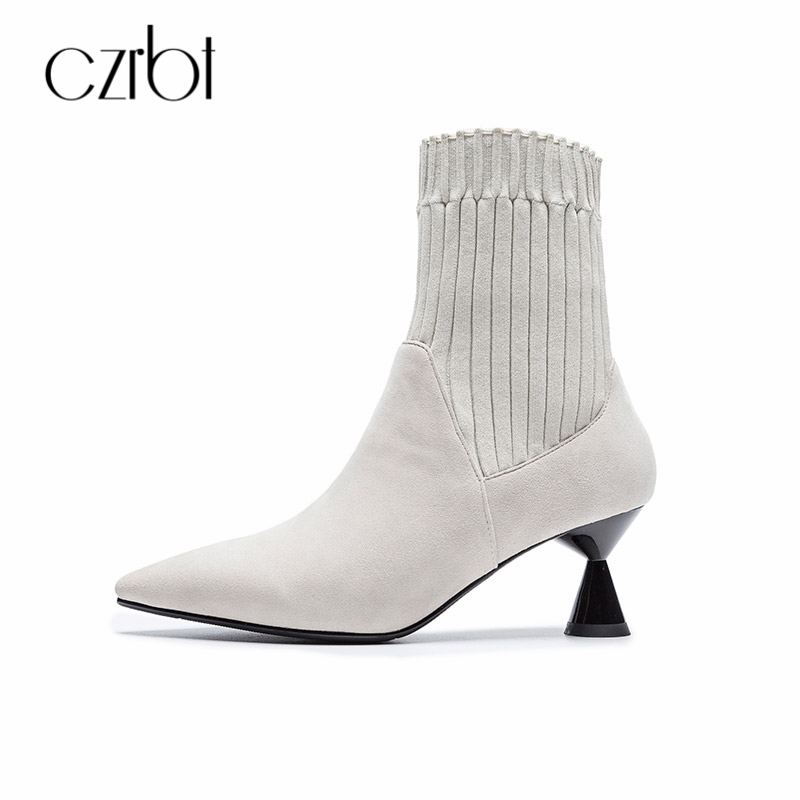 CZRBT Winter Women Boots Shoes Ankle Handmade Pointed Toe Ship-on Comfortable Concise Fasion Ladies Pumps Sexy High Heels 6cm