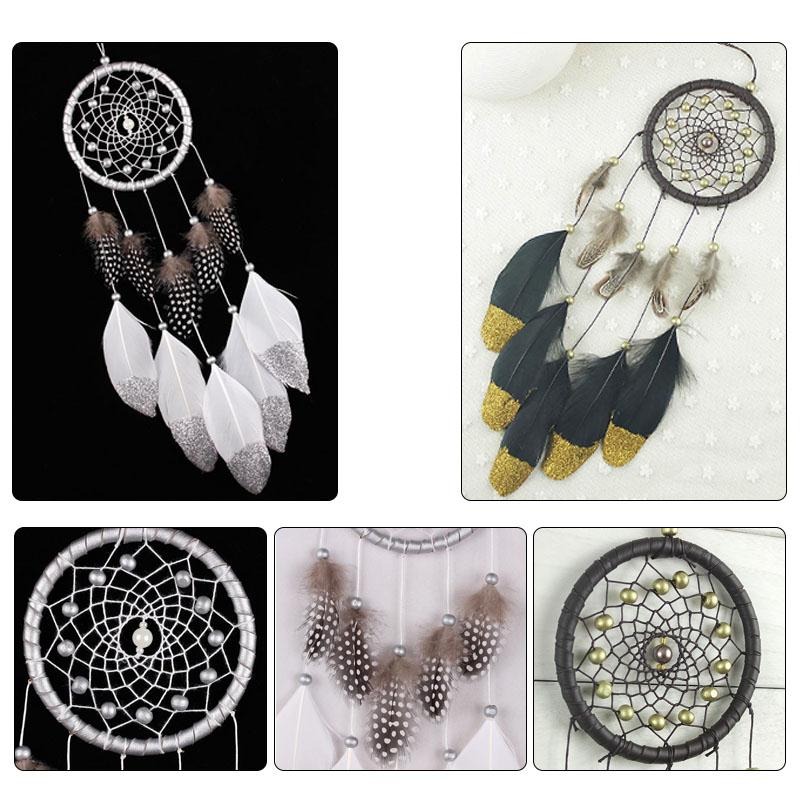 Silver Color Dream Catcher Car Wall Door Hanging Home Bedroom Decoration Bead Feathers Ornament Handmade Craft Gift Accessories