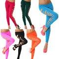 Новая Мода Сексуальные Женщины Люминесцентные Побочные Выдалбливают Разорвал Отверстие Твердые Конфеты Цвет Леггинсы Happybuy