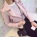 2017 Новая Мода Женщин Мотоцикл PU Кожаные Куртки Женщины Осень Короткие Epaulet Молнии Пальто Горячий Черный Розовый Пиджаки