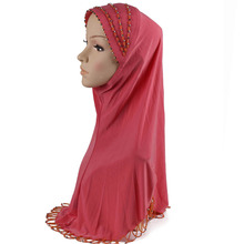2016muslim Caps Silk scarf hijab shawl Islamic Muslim Women's Head Scarf silk Underscarf Hijab Cover turban plaid colour Bonnet