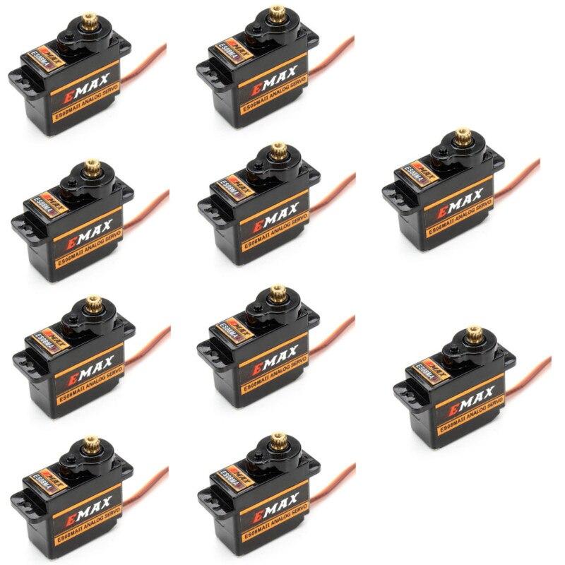 10 pièces EMAX ES08MAII 12g Mini engrenage métallique Servo analogique pour Rc loisirs voiture bateau hélicoptère avion Rc Robot pièce de rechange