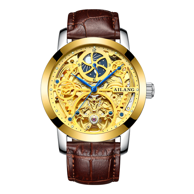 AILANG 6812 Switzerland watches men luxury brand automatic skeleton Gold Case Leather Skeleton Tourbillon Watch New ailang brand men automatic self wind watches leather skeleton tourbillon mechanical clock male rose gold shell watch new