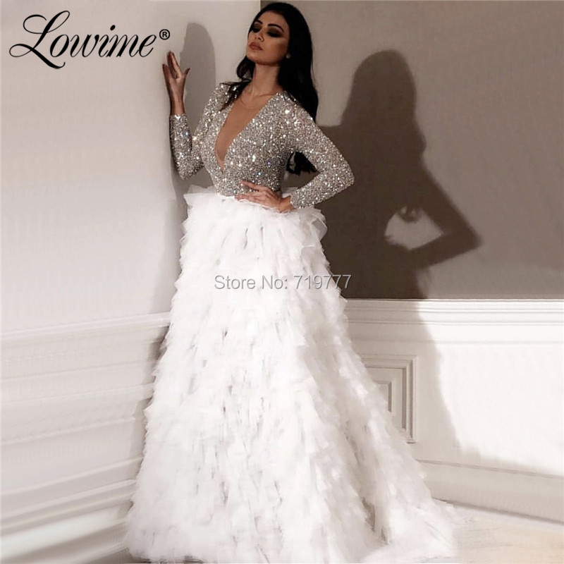 Silver Glitter Arabic   Evening     Dresses   2019 Dubai Turkish Muslim Wedding Party   Dress   Robe De Soiree Long Sleeves Prom   Dress   Gowns