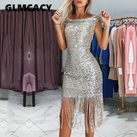 Women Sexy Sleeveless Sequined Tassel Dress Gold Mini Lady Dress 2019 Summer Fall Ladies Fringed Dress Female Party Vestidos