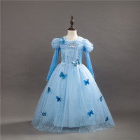 High Quality 2016 Children Clothing Princess Cinderella Vestidos Cosplay Baby Girls Snow Princess Dresses Weeding Kids
