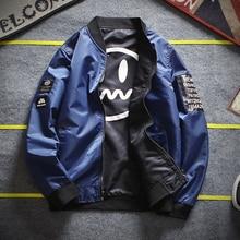 Streetwear Reversible Jacket Men Spring Autumn Casual Double Faced Baseball Mens Fashion Bomber Jackets Windcheater Male