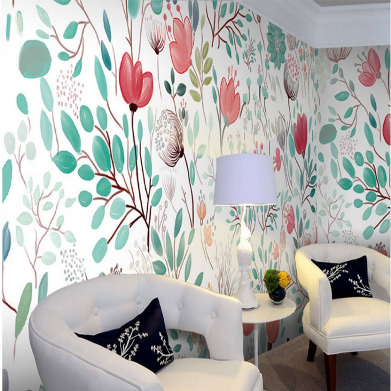 Custom 3d mural Watercolor floral wallpaper European Style hand painted floral wallpapers for Living Room bedroom wall mural english wallpaper roll for baby room lovely hand painted wallpapers children wall paper mural non woven wallpapers for boy room