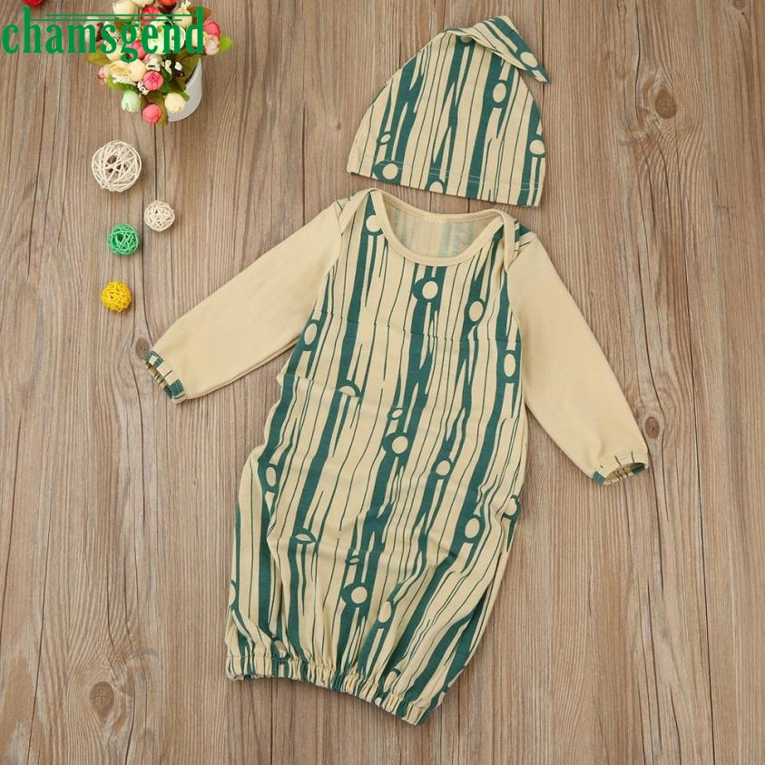 Childrens clothing fashion Newborn Infant Kids Baby Girl Print Full Long Sleeve Pajamas Gown+Hat Outfits Clothes Set gift p30