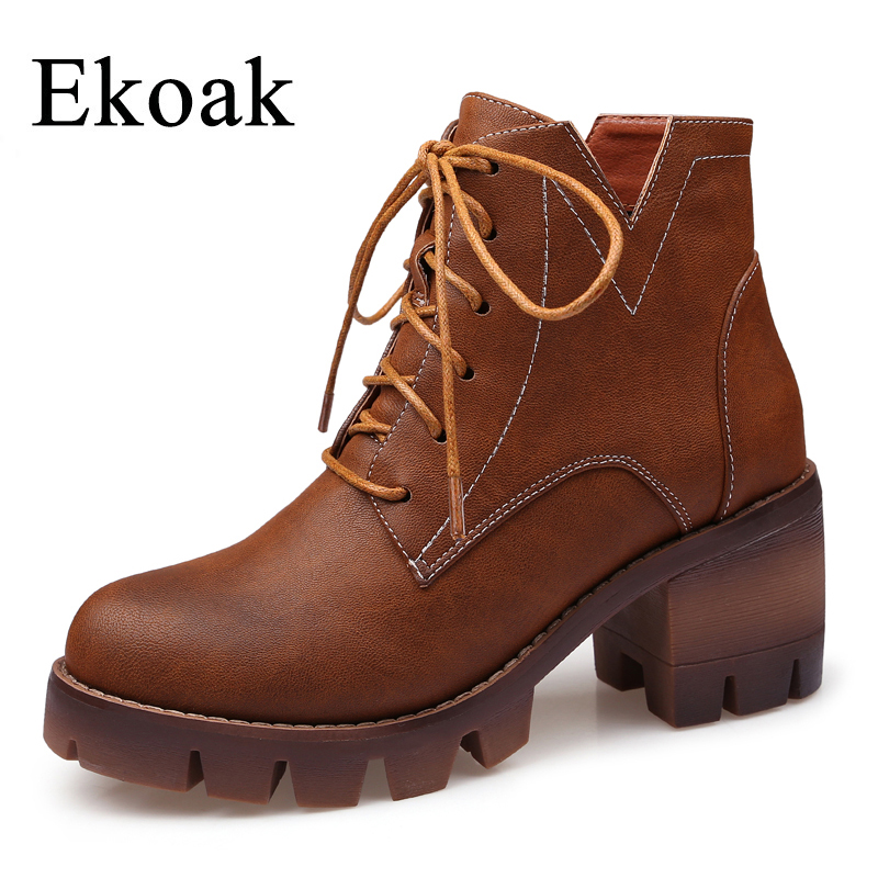 Ekoak New 2018 Fashion Spring Martin Boots Women Shoes Lace-Up Leather Motorcycle Ankle Boots High Heels Platform Shoes Woman yaerni woman fashion genuine leather motorcycle ankle boots female lace up low heels platform comfortable spring autumn shoes