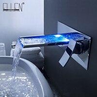 Доставка в течение 24 часов Ванная комната смесителя Цвет Изменение светодиодный Водопад настенное крепление Ванная комната раковина кран