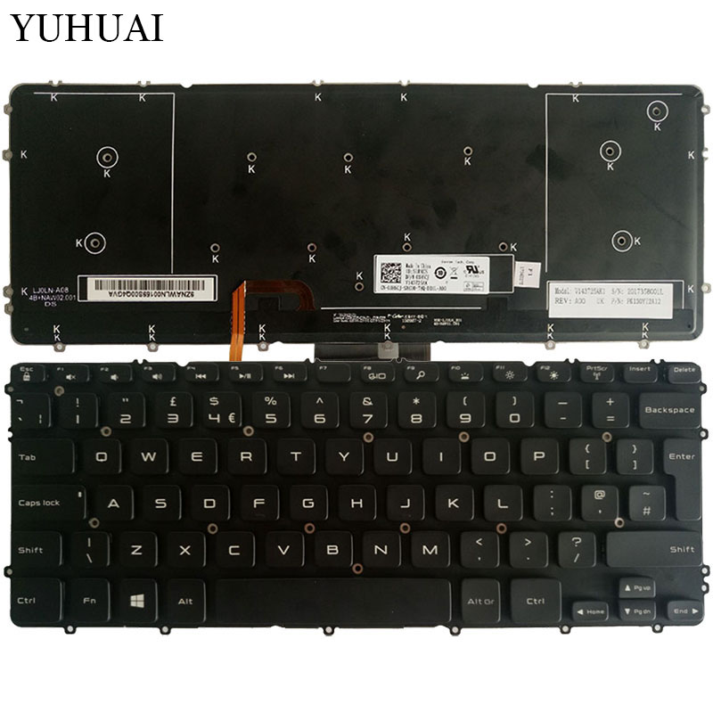 New UK Laptop keyboard for Dell Precision M3800 XPS 15 9530 black keyboard with backlit