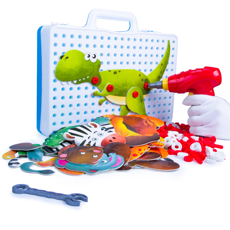 купить Boy New Children Tool Toys Electric Drill Screws 3D Puzzle Educational Toy Pretend Play Games Assembling Animals Block Model Toy по цене 1266.11 рублей