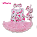 Flower Print Baby Dress Cotton Sleeveless Romper + Headband 2Pcs/set Pink Lace Tutu Dresses Newborn Girl Clothing