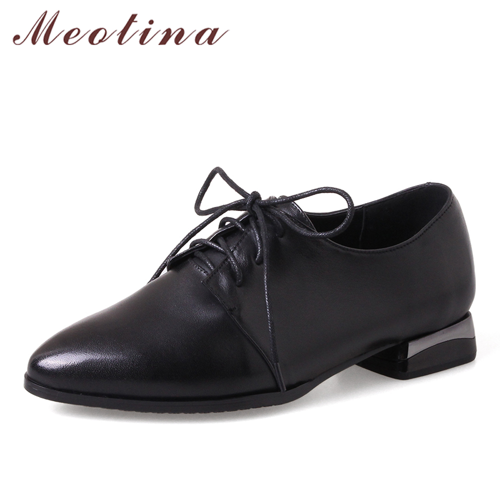 Meotina Genuine Leather Shoes Pointed Toe Derby Shoes Lace Up Ladies Flats Spring Female Cow Suede Shoes Black Large Size 33-43 meotina women flat shoes ankle strap flats pointed toe ballet shoes two piece ladies flats beading causal shoes beige size 34 43