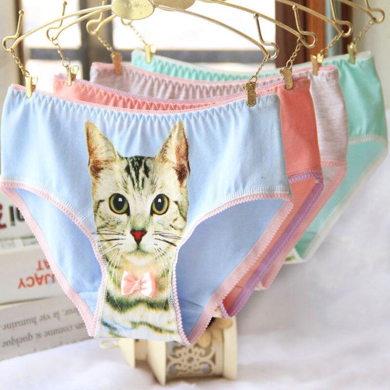 Cat Underwear Women Panties Plus Size Cotton Cat font b Briefs b font Breathable 3D Printing