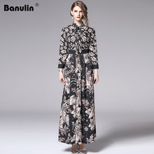 Banulin New Arrival 2019 Womens Bow Neck Long Sleeve Black Floral Dress Summer Fashion Vintage Print Runway Maxi