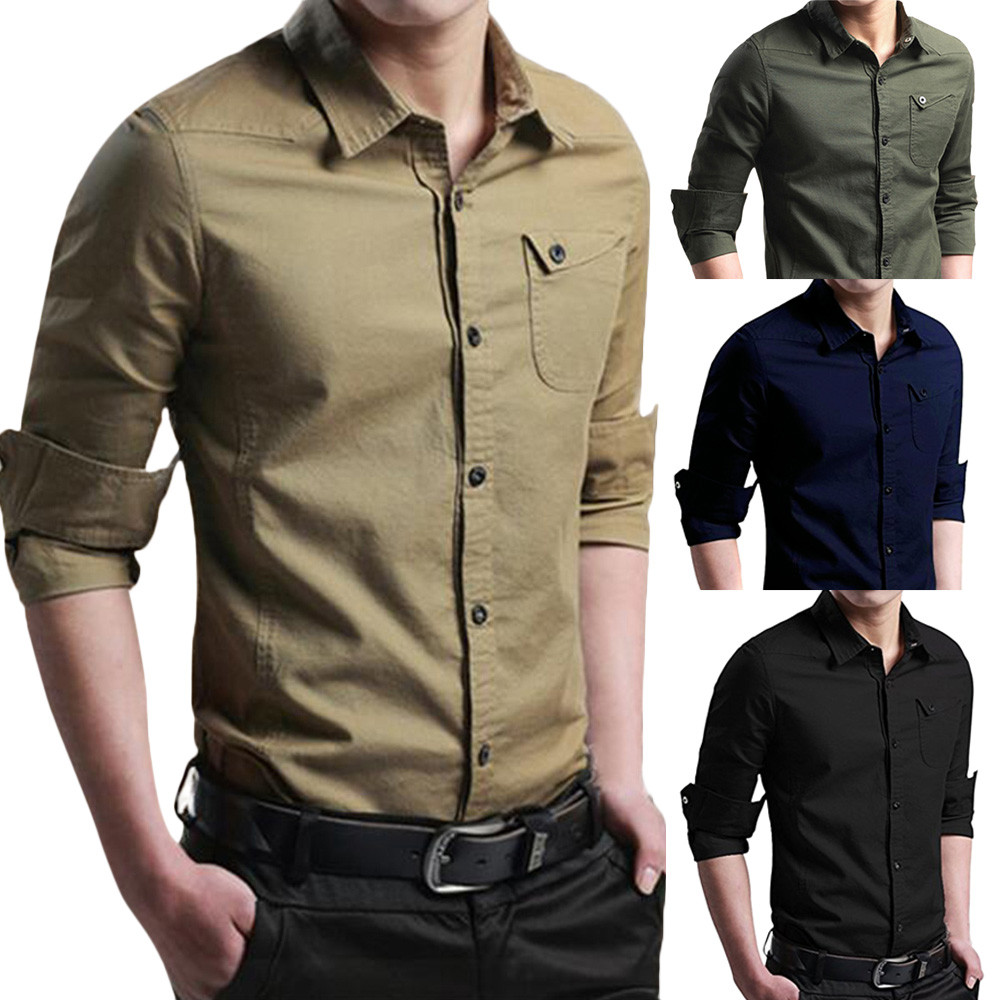 Men Shirt Blouse Men's Dress Cargo Long-Sleeve Military Autumn Fashion Slim-Button Casual