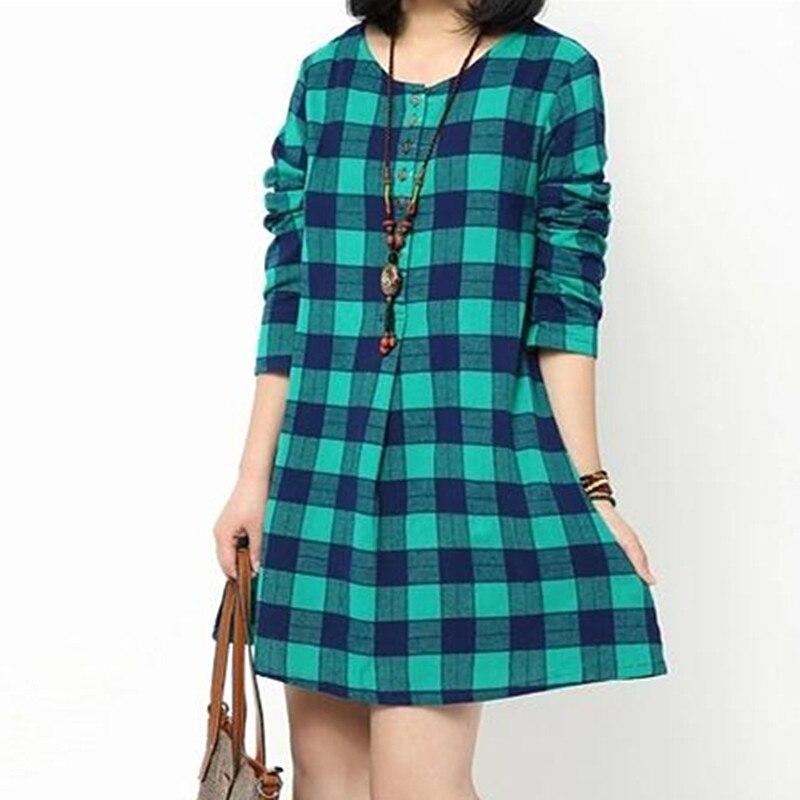 0377ff99618b3 Nuevo 2015 de manga larga suelta más tamaño ropa a cuadros blanco y negro  imprimió para mujer vestidos de corea más valorados vestido en Vestidos de  La ropa ...