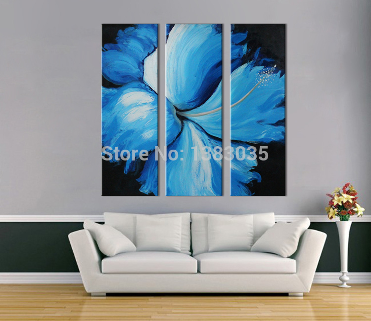 Hand Painted Abstract Blue Flower Painting 3 Panel Modern Canvas ...