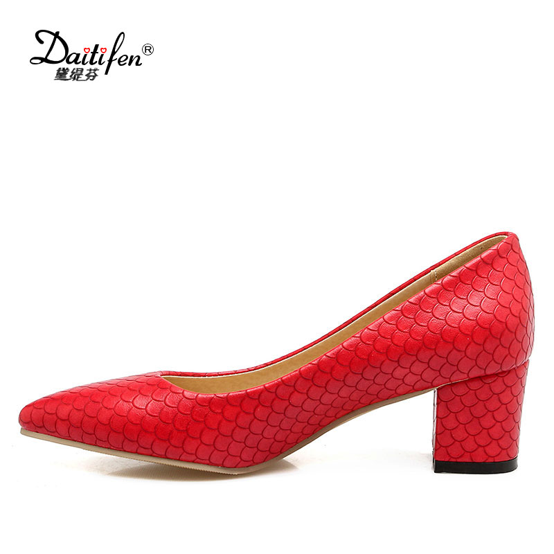 Daitifen New Solid high Square heel women shoes Fashion Fish scales Shallow Slip-on Pumps Casual Office lady Pointed toe shoes new genuine leather superstar solid thick heel zipper gladiator women pumps pointed toe office lady nude runway casual shoes l88