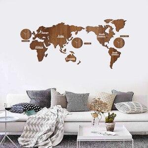 Image 5 - Reloj de pared con mapa del mundo, creativo, de madera, grande, moderno, de estilo europeo, redondo, silencioso