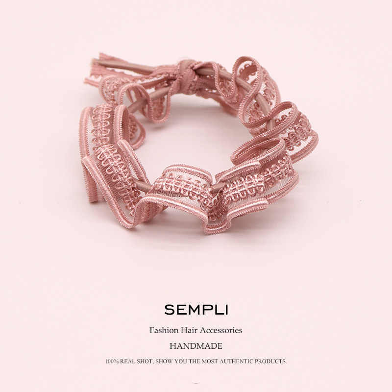 Korean Simple High Elastic Hair Rope For Ladies Wind Lace Knotted Hand-made Hair Ring Tie Hair Band Hair Accessories Scrunchie