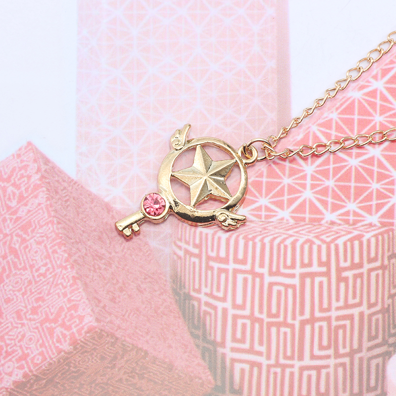 Fashion DIY Jewelry Enamel Alloy Pendant Sakura Magic Wand Pendant Hollow Star Gold Chain Necklace Beautiful Girl Child Gift in Pendant Necklaces from Jewelry Accessories