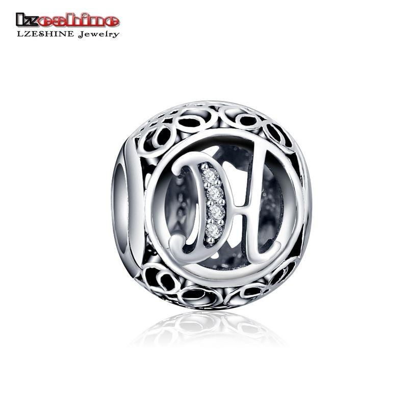LZESHINE 100% Authentic Sterling Silver 925 Crystal Alphabet Letter A-Z Bead Charm Fit Original Pandora Charm Bracelet PSMB0634 9
