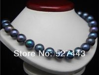 Women Gift Word Love Wholesale Fast Charming AAA 10 11mm Black Tahitian Cultured PEARL NECKLACE 18
