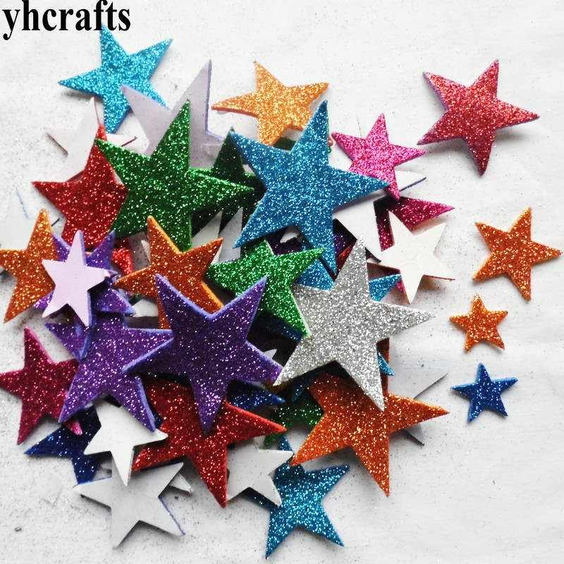 55PCS(1bag)/LOT.Glitter foam star stickers,Kids toy.Scrapbooking kit.Early educational DIY.Cheap.kindergarten craft