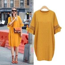 Big Size Women Vintage Dress 2018 Autumn Ruffles Sleeve Office 3XL 4XL 5XL Plus Elegant Oversized Knitted