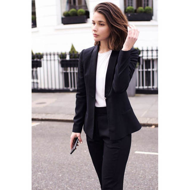 Custom 2017 Black 2 Piece Set Women Business Suit Blazer