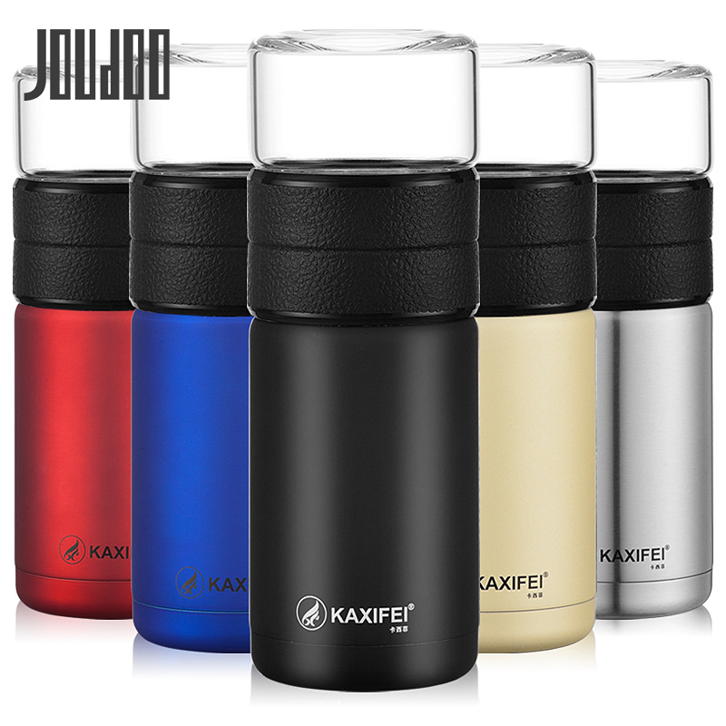 JOUDOO 400ML+200ml Insulation Tea Stainless Steel Thermos Glass/Tritan Cup With Strainer Infuser Business Water Glass Bottle 35