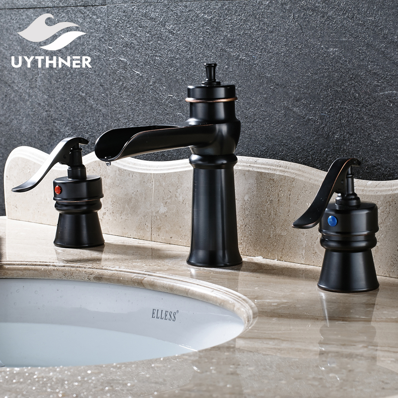 Oil Rubbed Bronze Widespread 3 pcs Bathroom Sink Faucet Double Handle Waterfall Spout Mixer Tap Deck Mounted oil rubbed bronze bathroom sink faucet double handles widespread 3pcs basin mixer tap deck mounted