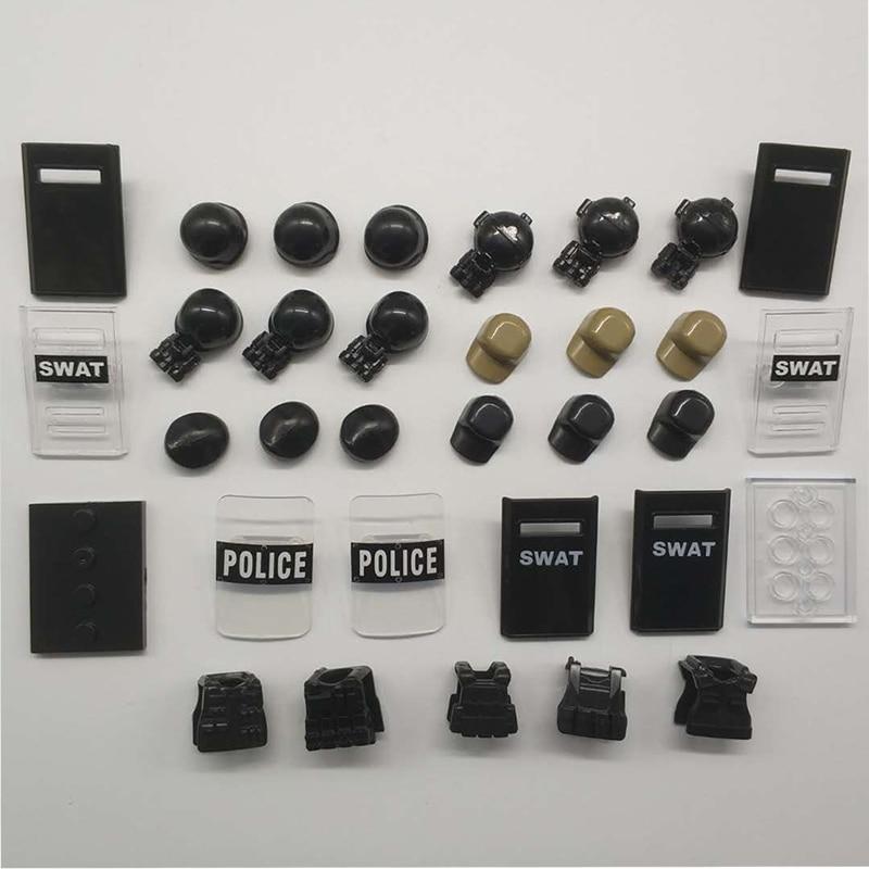 City Police Shield Weapon Bricks Military Gas Masks SWAT Helmet   Figures Cap Accessories Building Blocks Model LegoINGlys Toys police pl 12921jsb 02m