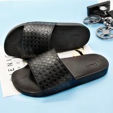 Gienig Men Flip-flops Summer Casual Flat Sandals Fashion Plaid Slides Black