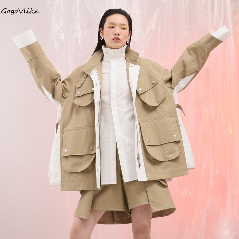 Couleur Lâche vent 2018 Femmes Coupe Europe Kaki Cargo De Bf Beau Manteau Outwear Poitrine Bloc Unique Coton Lt676s50 Tranchée 1x1qn6zwP