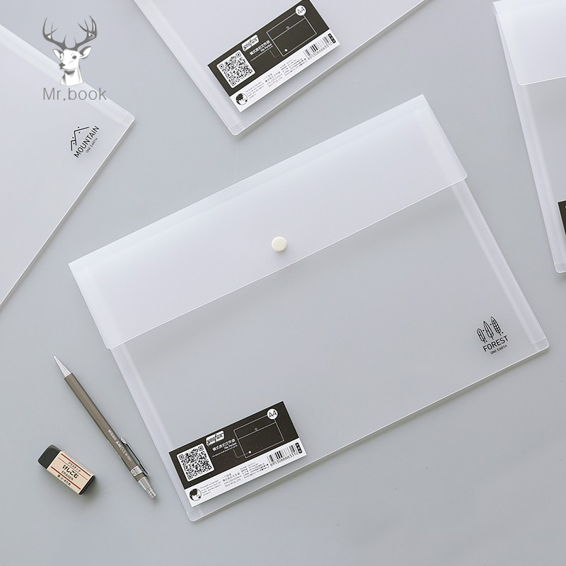 Transparent Folder Letter Plastic A4 Document Bag 23*32cm Stationery Storage Pocket Student's Folder School Office Supplies