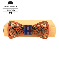 Rewood Moda Hollow Ahşap Bow Kravatlar için Mens Düğün Takımları Ahşap Bow Tie Kelebek Şekli Bowknots Gravatas İnce Cravat Takı