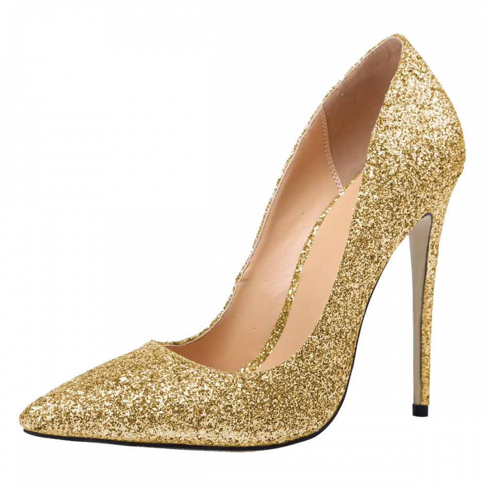 TheMOST Women High Heels Lady Pumps Glitter Pointed Toe Tunna hälar Sexiga Bröllopsskor För Kvinna 12cm High-heeled Fashion Sequins