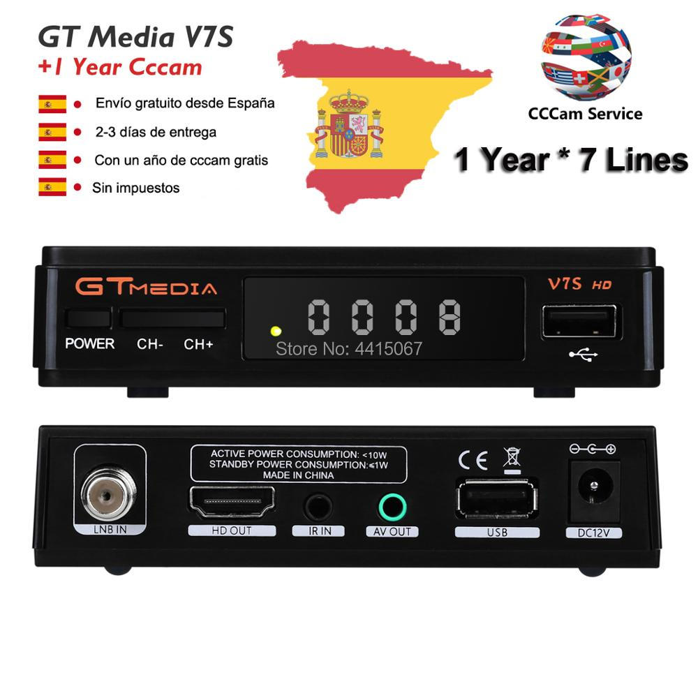 US $31 5 |freesat GTMEDIA V7S DVB S2 1080P HD Satellite Receiver Support  PowerVu,DRE Biss key Spain Cccam Cline For 1 Year Ship From ES -in  Satellite