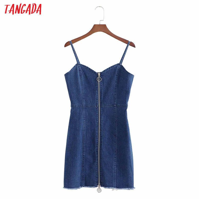 Tangada джинсовый сарафан джинсовое платье без рукавов синее платье сарафан из денима мини сарафан короткий сарафан на молнии приталенное платье платье с открытой спиной сарафан с открытыми плечами 1D228