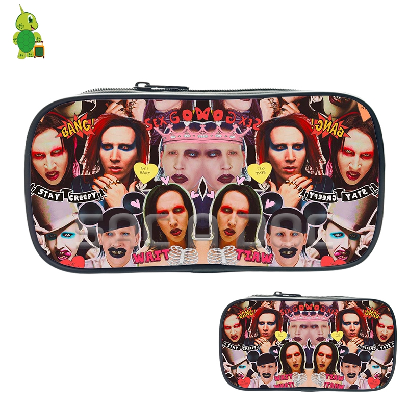 Punk Star Marilyn Manson Collage Cosmetic Bags Boys Girls School Storage Bags Large Pencil Case Women Men Fashion Makeup Bags