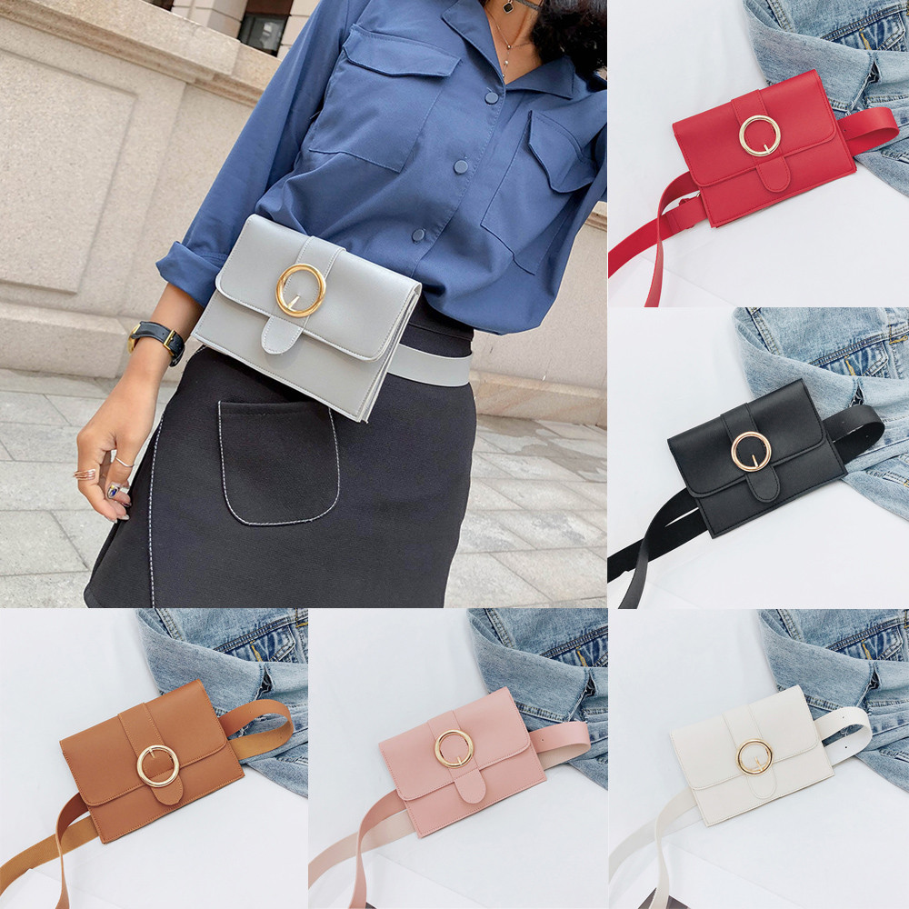 2018 Heißer Verkauf Taille Taschen Mode Frauen Reine Farbe Ring Leder Messenger Schultertasche Brusttasche Gürteltasche Für Frauen Marsupio T HüBsch Und Bunt