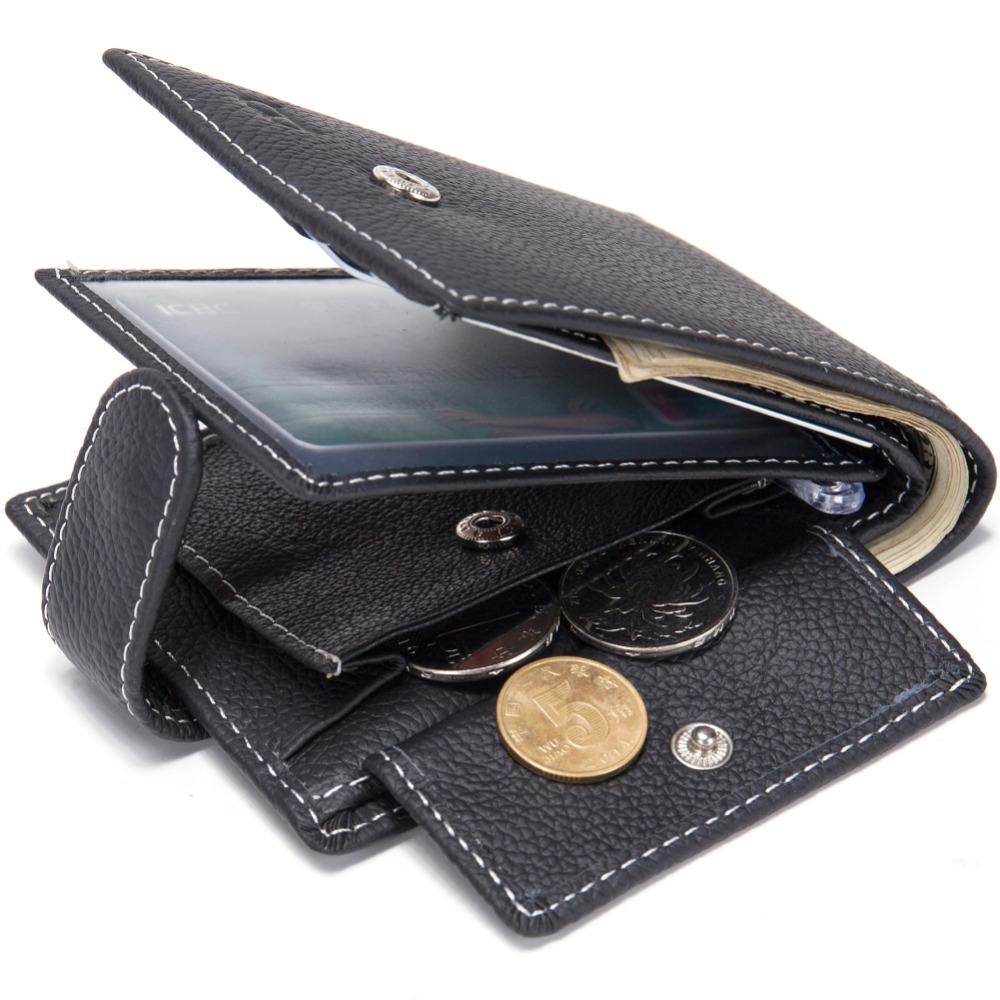 Men Wallets Magic Genuine-Cow-Leather Card-Holder Coin-Pocket Thin Purse Fashion