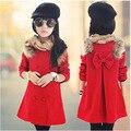 Niños clothing muchacha al por mayor del otoño del resorte nuevos niños coreanos de la capa de lana roja abrigo de niñas